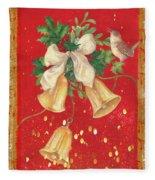 Illustrated Holly, Bells With Birdie Fleece Blanket
