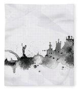Illustration Of City Skyline - Kiev In Chinese Ink Fleece Blanket
