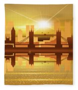 Illustration Of City Skyline - London  Sunset Panorama Fleece Blanket