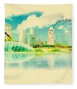 Illustration Of Singapore In Watercolour Fleece Blanket