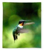 Img_9985-001 - Ruby-throated Hummingbird Fleece Blanket