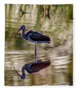Immature White Ibis At Sunrise Fleece Blanket