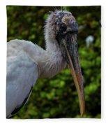 Immature Wood Stork Fleece Blanket