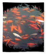 Imperial Koi Pond With Black Swirling Frame Fleece Blanket