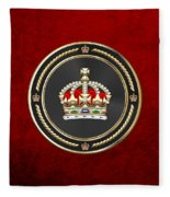Imperial Tudor Crown Over Red Velvet Fleece Blanket