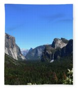Imposing Alpine World - Yosemite Valley Fleece Blanket