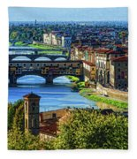 Impressions Of Florence - Long Blue Shadows On The Arno River Fleece Blanket