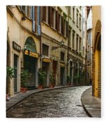 Impressions Of Florence - Walking On The Silver Street In The Rain Fleece Blanket