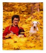 In A Yellow Wood - Paint Fleece Blanket