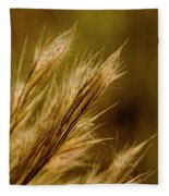 In An Autumn Field - Golden Macro Fleece Blanket