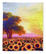 In Awe Of Sunflowers, Sunset Fields Fleece Blanket