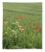 in Flanders Fields the  poppies blow Fleece Blanket