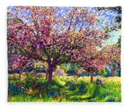 In Love With Spring, Blossom Trees Fleece Blanket