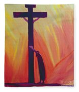 In Our Sufferings We Can Lean On The Cross By Trusting In Christ's Love Fleece Blanket