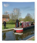 In Papercourt Lock On The Wey Navigations Fleece Blanket