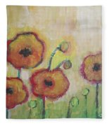 Poppies At Dusk Fleece Blanket