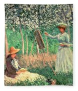 In The Woods At Giverny Fleece Blanket