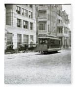In This 1913 Photo, A Cable Car Drives Past The Littlefield Building And Dristill Hotel On Sixth Str Fleece Blanket
