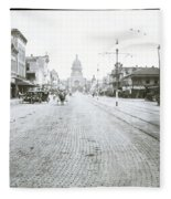 In This Historical 1913 Photo, Horse Drawn Carriages In Downtown Austin, Texas Run Up And Down Congress Avenue Cobblestone Streets Leading Up The The Texas State Capitol Fleece Blanket