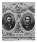 In Union Is Strength - Ulysses S. Grant And Schuyler Colfax Fleece Blanket