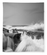 Incoming  La Jolla Rock Formations Black And White Fleece Blanket