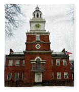 Independence Hall In Philadelphia Fleece Blanket