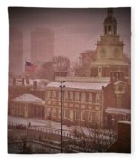 Independence Hall In The Snow Fleece Blanket