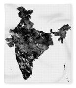 Map Of India-black Fleece Blanket
