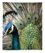 Indian Blue Peacock Puohokamoa Fleece Blanket