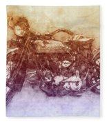 Indian Chief 2 - 1922 - Vintage Motorcycle Poster - Automotive Art Fleece Blanket