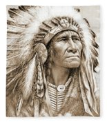 Indian Chief With Headdress Fleece Blanket
