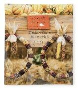 Indian Corn Wreaths Fleece Blanket