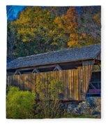 Indian Creek Covered Bridge In Fall Fleece Blanket