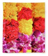Indian Flower Garland Fleece Blanket