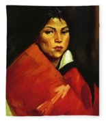 Indian Girl 1916 Fleece Blanket