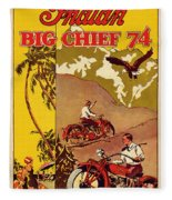 Indian Motorcycle Big Chief 74 Fleece Blanket