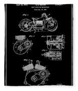Indian Motorcycle Patent 1943 Black Fleece Blanket
