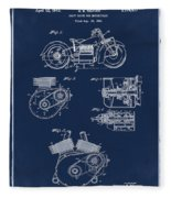 Indian Motorcycle Patent 1943 Blue Fleece Blanket