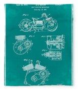 Indian Motorcycle Patent 1943 Green Fleece Blanket