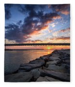 Indian River Inlet And Bay Sunset Fleece Blanket