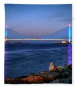 Indian River Inlet Bridge Twilight Fleece Blanket