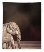 Indian Silver Elephant Fleece Blanket