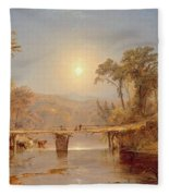 Indian Summer On The Delaware River Fleece Blanket