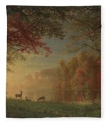 Indian Sunset Deer By A Lake Fleece Blanket