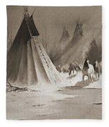 Indian Tee Pee Fleece Blanket