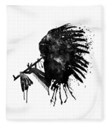 Indian With Headdress Black And White Silhouette Fleece Blanket