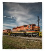 Indiana Southern Railroad Locomotives At Edwardsport Indina Fleece Blanket