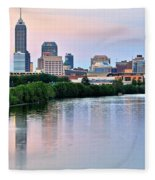 Indianapolis At Dusk Fleece Blanket