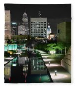 Indianapolis Canal Night View Fleece Blanket