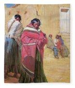 Indians Outside Taos Pueble Fleece Blanket
